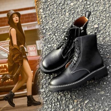 新款秋冬馬丁靴時尚粗跟中跟女短靴機車靴GT9906A