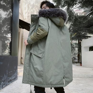 EastLevel 2019新款冬季男士棉衣长款棉服男装外套潮牌 jd28