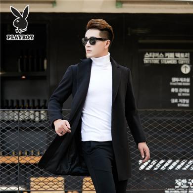 花花公子2019冬季新款英伦商务中长款修身显瘦双面呢毛呢大衣中青年韩版羊毛西装领外套男ZHIPU CG-8910