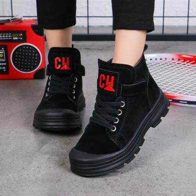 男童馬丁靴2019年新款兒童靴子女童英倫風保暖短靴時尚中大童皮靴  F188