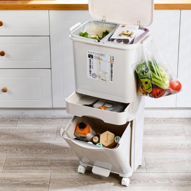 百露加高身帶蓋雙層廚房大號分類垃圾桶帶滑輪塑料干濕垃圾箱多層大容量