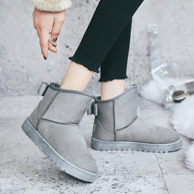 新款蝴蝶結ins冬季加絨短靴休閑女棉鞋雪地靴女YC-G22