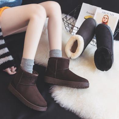 搭歌黑色雪地靴女冬季短筒2019新款加絨短靴子面包加厚棉鞋 K811