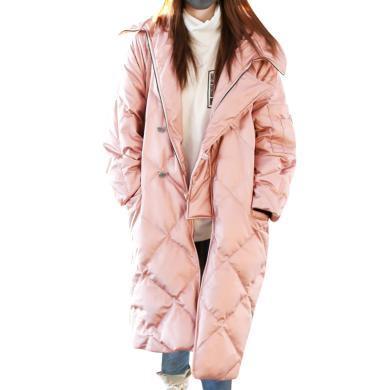 韩版冬季中长款茧型羽绒服2019新款宽松显瘦时尚外套名媛女面包服