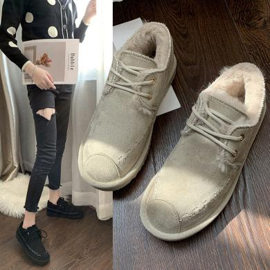 搭歌2019新款雪地靴女短筒面包棉鞋女冬季加绒保暖时尚休闲短靴子 KX007