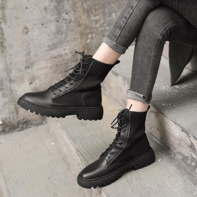 欧美风2019秋冬新款女靴时尚马丁靴时装性感名媛高帮靴工装女鞋短靴AI8-13130