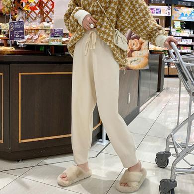 妃孕寶 孕婦褲秋冬新款高腰托腹褲寬松顯瘦哈倫褲時尚簡約休閑褲毛呢長褲