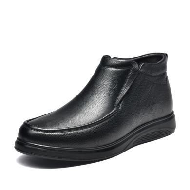 富贵鸟男靴套脚休闲高帮皮鞋男加绒保暖皮靴棉靴 D994865R
