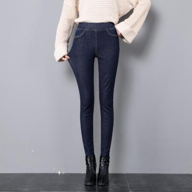 搭歌加厚牛仔褲女2019冬季新款松緊腰長褲加厚加絨高腰保暖顯瘦小腳褲 HL7760