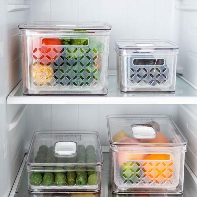 摩登主婦可瀝水冰箱食品收納保鮮盒水果蔬菜儲物盒廚房家用保鮮盒