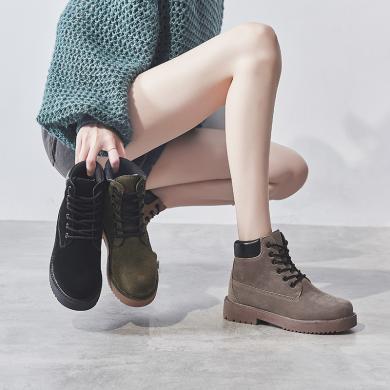 马丁靴女英伦风2019新款百搭高帮鞋女ins潮帅气短靴秋单靴鞋LSXY-1917
