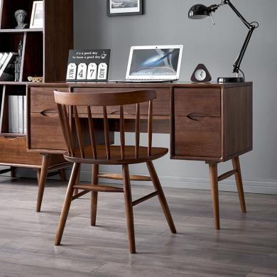 優家工匠實木家具小戶型輕奢實木書桌簡約現代家用電腦桌五抽寫字臺辦公家具