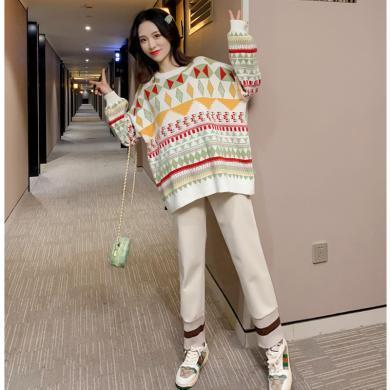 妃孕宝 孕妇装秋冬新款辣妈彩色针织衫宽松显瘦阔腿裤高腰托腹裤两件套女
