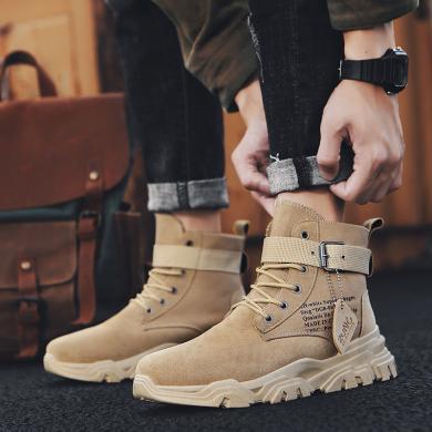 新款潮流男鞋子休閑馬丁靴男士高幫百搭工裝靴男靴子YG-2923