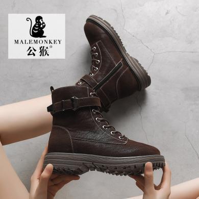公猴马丁靴女新款百搭英伦风短靴春秋款单靴帅气秋鞋短筒冬鞋