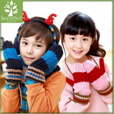 kk樹男童兒童連指手套加厚女童寶寶小孩秋冬掛脖手套五指冬季   KQ13086