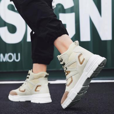 鞋子男新款英倫馬丁靴韓版潮流戶外工裝靴百搭男士高幫鞋YG2804