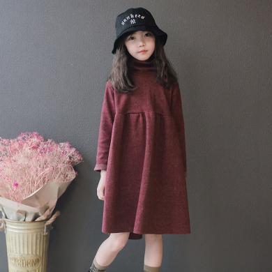 謎子 女童連衣裙秋冬新款童裝打底裙中大童中領裙子寬松顯瘦打底裙