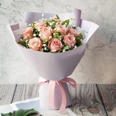 【新品】暖暖情深-9枝粉玫瑰、白色滿天星、梔子葉鮮花花束同城訂花情人節周年紀念日生日禮物創意禮物送女朋友送禮拜訪女神節女生節38婦女節