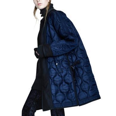 歐美棉衣女士冬裝2019年新款中長款秋冬加厚棉服拼接寬松修身外套