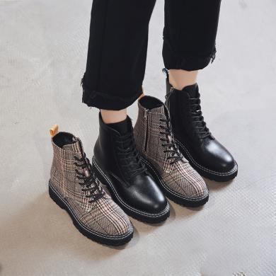 搭歌厚底牛皮短靴女2019秋冬款百搭英倫坡跟女靴圓頭皮靴內增高馬丁靴 YDG2009