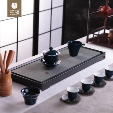 祥福竹石排水茶盤功夫茶具家用簡約茶臺長方形大小號石頭茶盤整塊