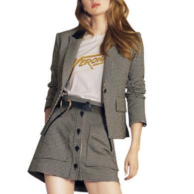 小香风西装套装女2019新款欧美时尚小个子初秋套装洋气短裙两件套
