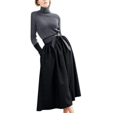 洋气减龄裙装两件套2019秋冬新款女士针织名媛修身毛衣裙子套装潮