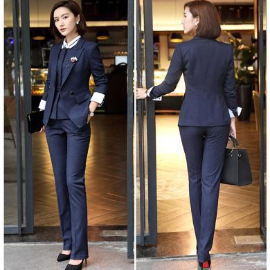 億族 四季新款長袖上班白領西服+百搭西褲女職業裝套裝工作服兩件套