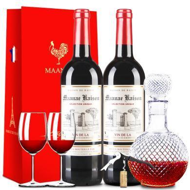 法國原瓶進口紅酒 曼拉維 凱旋干紅葡萄酒禮盒禮袋 750ml*2瓶 雙支裝