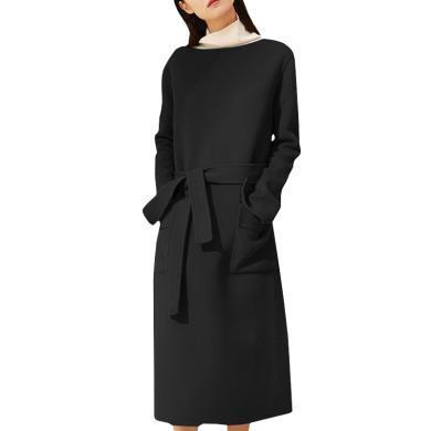 連衣裙女裝2020春季新款中長款氣質修身顯瘦長袖毛呢系帶一步裙子