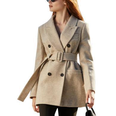 歐美新款小香風氣質毛呢小西裝2019秋冬輕熟風時尚女寬松短款外套