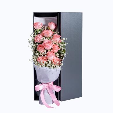 【新品】Pink secret-11枝玫瑰花鮮花禮盒鮮花速遞同城創意禮物情人節送女朋友送禮拜訪生日禮物女神節女生節38婦女節