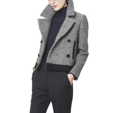 輕熟風時尚小個子呢子上衣2019秋季新款女士歐貨氣質修身短外套潮