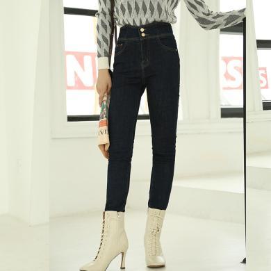 BANANA BABY2019秋冬款韩版高腰修身显瘦小脚牛仔裤女铅笔裤长裤D294KZ177