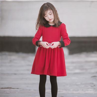 謎子 女童連衣裙秋冬新款童裝百褶裙中大童公主裙洋氣學院風裙子