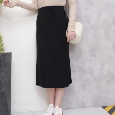 百依戀歌 秋冬新款時尚港味高腰中長款包臀針織一步半身裙 ZC8912