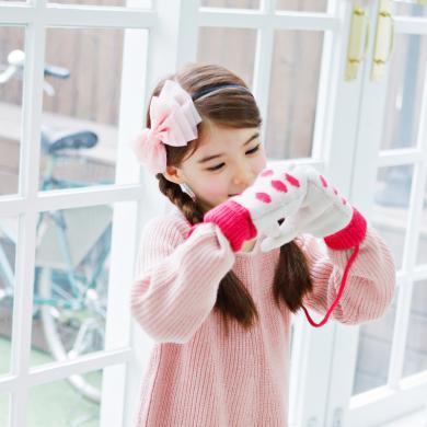 KK树儿童手套女童加绒冬季学生手套可爱加厚小孩手套秋冬款潮    KQ15374