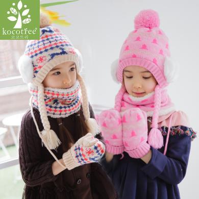 KK樹寶寶帽子圍巾手套三件套冬天男女童小孩秋冬兒童帽子套裝一體    KQ15401