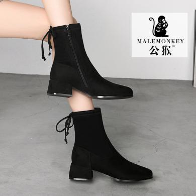 公猴馬丁靴女短靴時裝靴新款ins網紅瘦瘦靴中筒百搭中跟秋冬