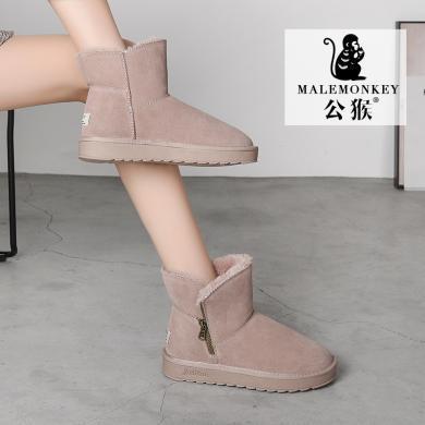 公猴雪地靴女冬季新款加绒短靴平底百搭厚底短筒面包棉鞋