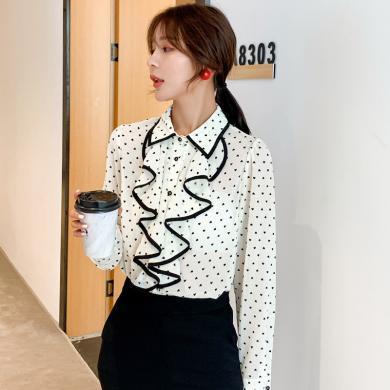 搭歌2019秋季新款韓版POLO領印花雪紡衫波浪邊襯衫長袖上衣女B3743