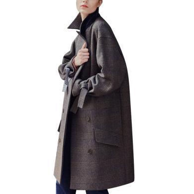 港味復古毛呢大衣女2019流行女裝秋冬寬松中長款格子外套上衣潮