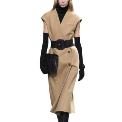 韩版妮子大衣2019新款秋冬洋气呢子外套女中长款宽松过膝驼色大衣
