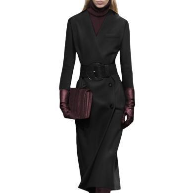 流行中長款毛呢大衣女2019秋冬季新款港味復古黑色修身呢子外套厚