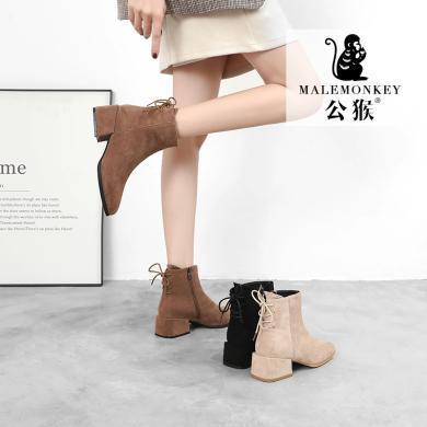 公猴短靴女冬季新款英倫風粗跟單靴網紅百搭中跟及踝加絨棉靴