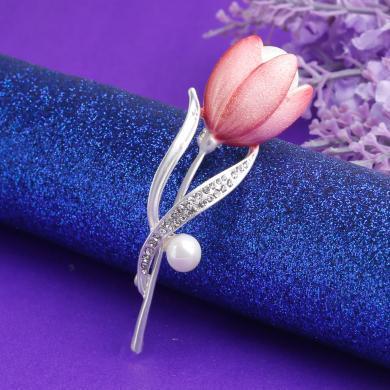 盈滿堂 新款歐美精致琺瑯彩繪郁金香珍珠女士胸針胸花