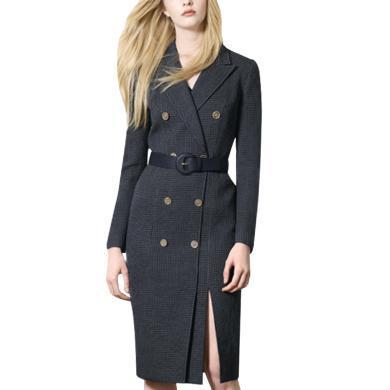 雙排扣格子呢子大衣女2019秋冬季新款修身毛呢外套加厚連衣裙潮