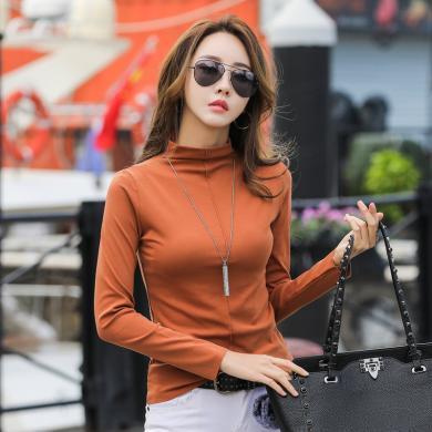 搭歌2019秋季新款一体裁剪半高领无痕弹力打底衫长袖T恤女B3574