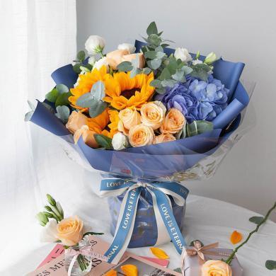 星河璀璨-香檳玫瑰9枝鮮花愛人女朋友周年紀念日情人節創意禮物送女朋友新年春節送禮拜訪生日禮物
